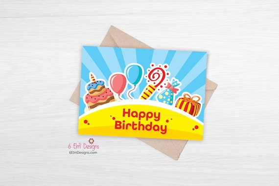 Birthday Day Card Printable Happy Birthday Print At Home Etsy