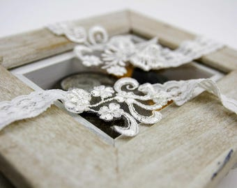 White Stretchy Lace and lace aplique detail Bridal Garter Set -Vintage inspired keepsake and toss garters