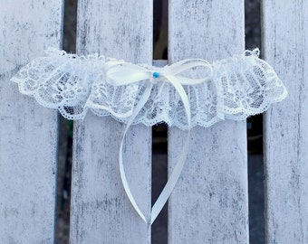 Wedding Single Bridal Garter in delicate Ivory Lace and Cream Ribbon Bow with Blue Pearl Vintage Inspired Wedding Garter, Single garter
