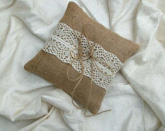 Hessian Ring Cushion Burlap Ring Bearer Pillow with Cream lace Rustic Wedding Pillow, 6x6 inches