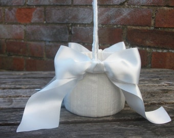 Oval Flower Girl Basket  in ivory or white raw silk with wide satin ribbon bows