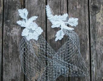 Bandeau Veil, Wedding Veil, Ivory Blusher Veil, Bridal Mini Veil, Birdcage Veil, French Netting Veil,
