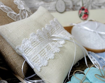 Ivory Burlap/Hessian Ring Bearer Pillow/Cushion With White Vintage Cotton Lace