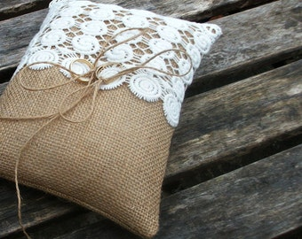 Rustic Burlap/Hessian Ring Bearer Pillow in Natural with Off  White Guipure Cotton Lace