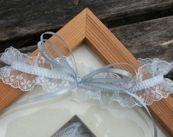 Single Wedding Garter in White or Cream  Lace and Pale Blue Satin Ribbon Bow, wedding garter, keepsake garter