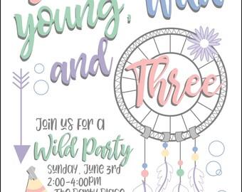 Wild and 3 Invitation