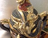 Vintage Japanese Satsuma raised dragon moriage tea set