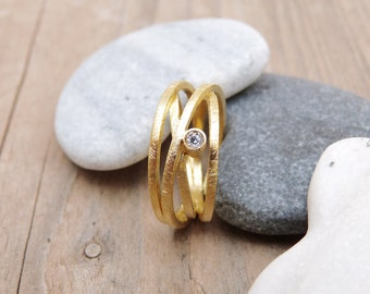 1b51b2f41 Gold plated silver ring with genuine diamond,4 Intertwined rings,natural  diamond ring,Handmade Jewelry,Design ring,engagement ring