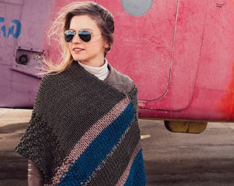 Olive Green Knitted Poncho
