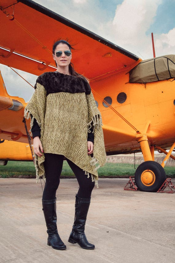 To 30 Brown with Faux Woven Outfit On Green Poncho Sale SALE Fur Accessory Your Excellent 7Bqfd7