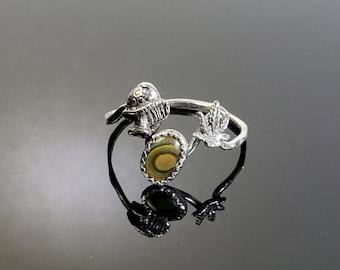 Sterling Silver Marijuana, Mushroom and Abalone Single Band Ring