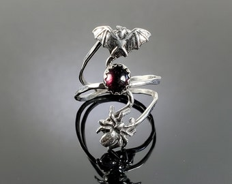 Sterling Silver Bat, Spider and Oval Garnet Ring