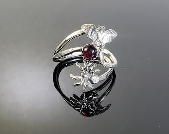 Sterling Silver Bat, Spider and Round Garnet Ring