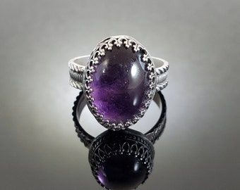 Size 11.75 Sterling Silver and Amethyst Ring