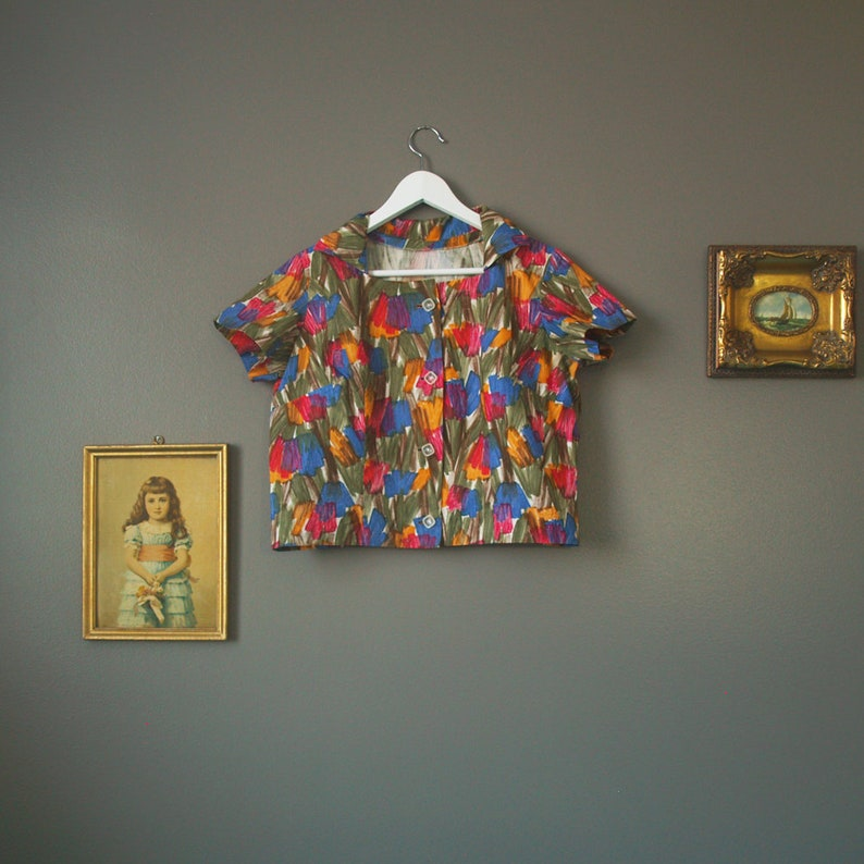 50s watercolor blouse  vintage handmade print blouse  short sleeve blouse  large