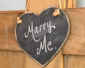 Mini Wooden Distressed Chalkboard Heart, Hanging, Wedding Decor