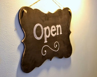 Wooden Chalkboard for Businesses Open/Closed Sign, 18x11 - Hanging, Distressed, 2 sided