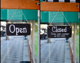 Wooden Chalkboard for Businesses Open/Closed Sign, 12x6 - Hanging, Distressed, 2 sided