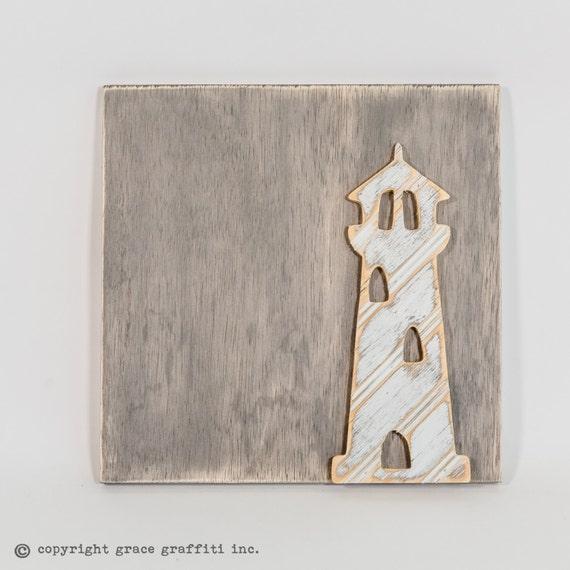 phare wall art en bois vieilli antique perle planche ferme. Black Bedroom Furniture Sets. Home Design Ideas