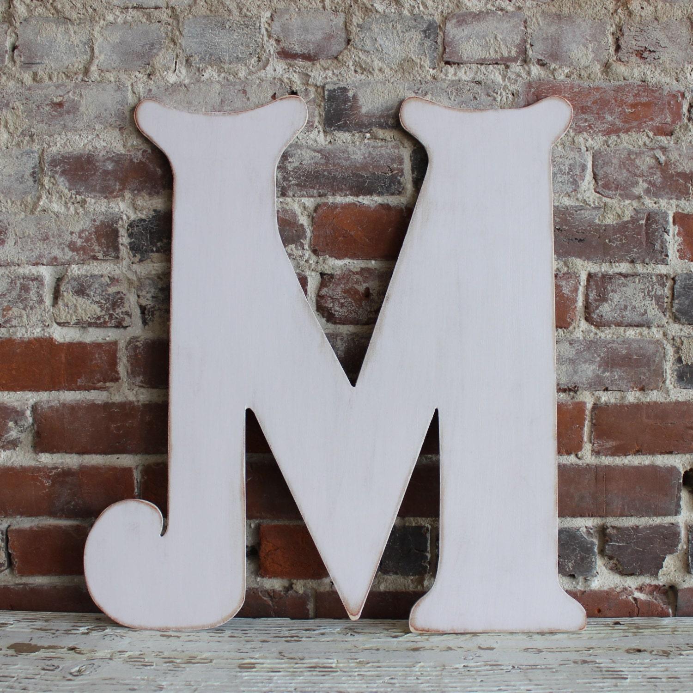 24 Wooden Letter M Elegant Font Distressed Modern   Etsy