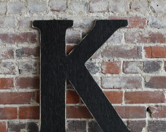 """24"""" Wooden Letter K, Classic Font, Distressed, Modern Rustic - all letters available in many colors"""