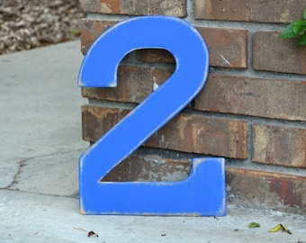 """12"""" Wooden Number 2 Two, Distressed Royal Blue - all numbers many colors available"""