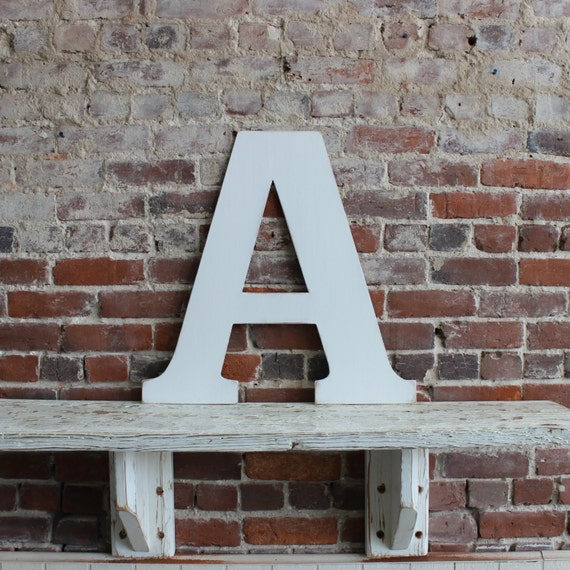 24 wooden letter a alternative wedding guestbook classic font in distressed white all letters available in many colors