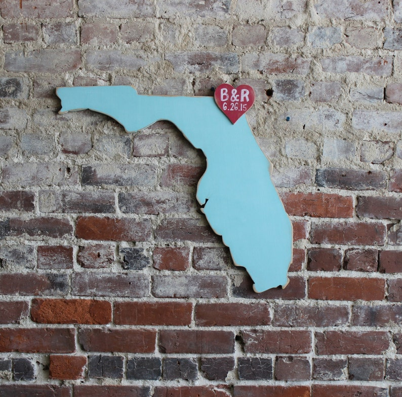 any statecountry available in many colors 2 ft Florida in Distressed Ocean Wooden State Wedding Guestbook
