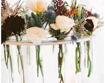 Small Wooden Test Tube Flower Chandelier- Events, Dinner Parties, Tea Time, Garden Parties, Modern Rustic