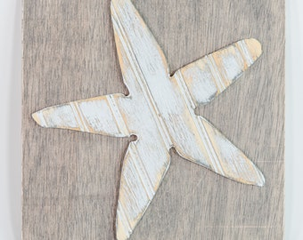 Starfish Wooden Wall Art, Distressed Antique Bead Board Sign, Coastal