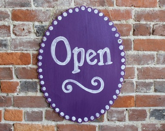 Scalloped Oval Open/Closed Sign for Business - 2 Sided, Distressed, many colors available