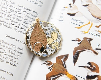 """Plovers in Nest 1.5"""" hard enamel pin - Wildlife Conservation - durable metal - gold accents"""
