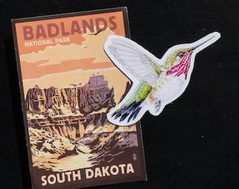 "Calliope Hummingbird 3"" handmade magnet"
