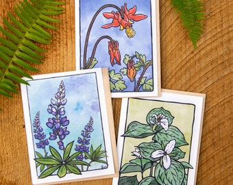 Western Wildflowers set of 3 greeting cards 100% recycled paper