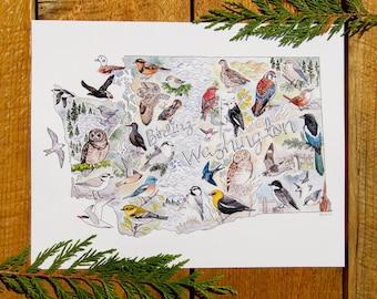 Birding Washington map 11x14 or 8x10 fine art print