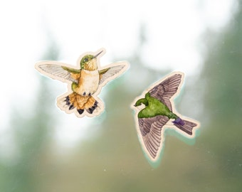 Window Clings - set of 2 - Rufous hummingbird and violet green swallow