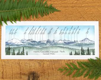 "North Cascades National Park Familiar Peaks 5 1/2""x14"" fine art print"