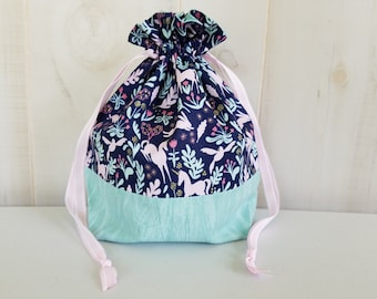 Sock Project Bag: Minty Unicorns