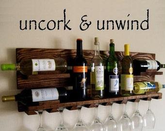 Uncork & unwind Vinyl Wall Lettering Wine Lover Kitchen Wine Rack Decal Wedding