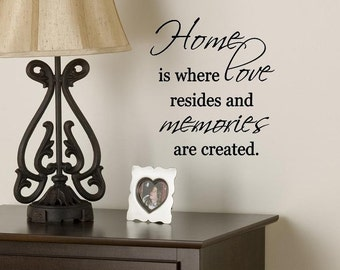 Wall Decal - Home is where love resides and memories are created - Wall Decor - Vinyl Lettering - Family Statement