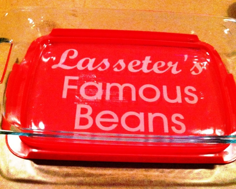 Personalized Custom Pyrex 3 quart casserole dish Engagement Party Lid Included Wedding House Warming