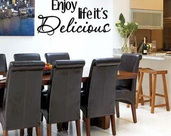 Wall Lettering Enjoy Life It's Delicious Vinyl Decal Wall Art