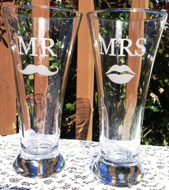 Mr Mrs Etched Glass Traditional Beer Pilsners With Mustache Etsy