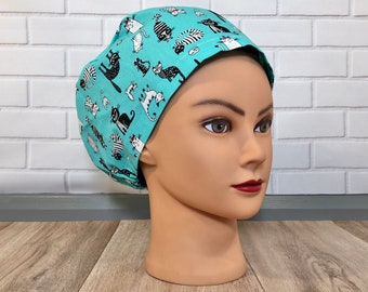 Bouffant or Ponytail Traditional Cats Wearing Glasses Scrub Cap Breathable 100/% Cotton Handmade