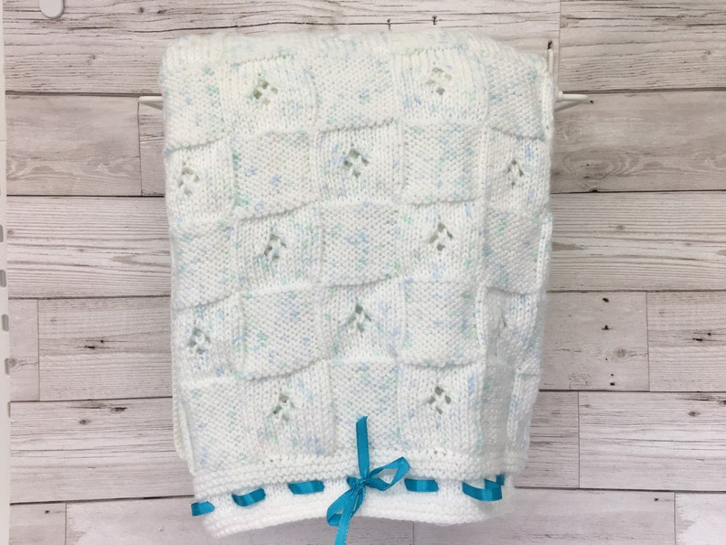 White-Blue-Mint-Baby blanket-Shawl-Hand knitted-Baby image 0