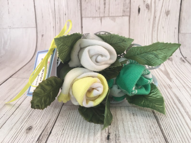 Rose Sock Bouquet  Green/Yellow/White image 0