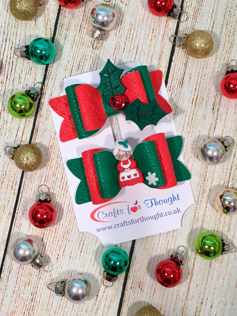 Set of 2 Christmas hair clip bows. Mrs Christmas and Holly image 0