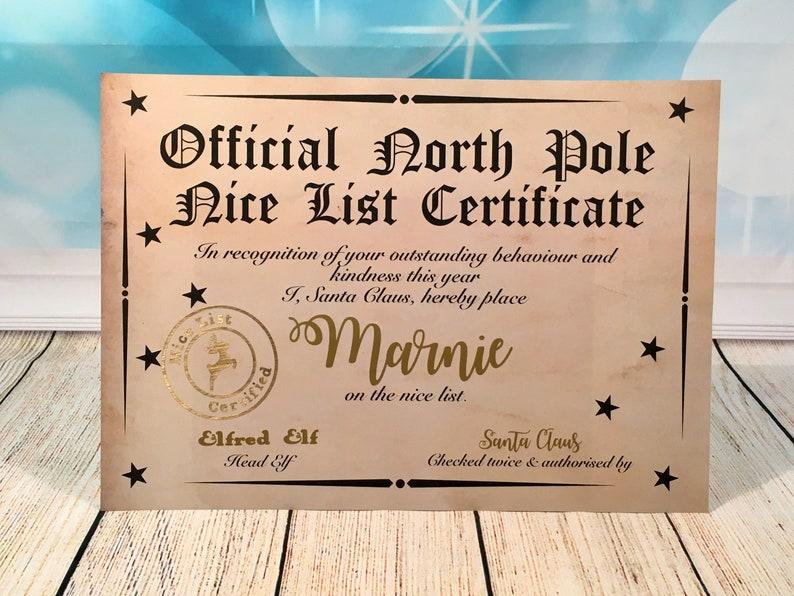 Personalised Santa Certificate Nice Certificate Naughty or image 0