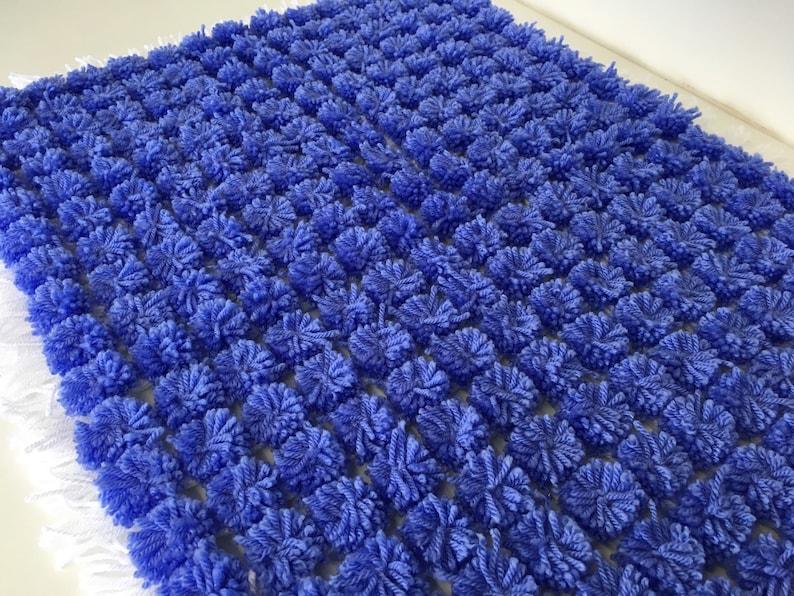 Blue-White-Pom Pom-Baby pram blanket-Hand knitted-Baby image 0