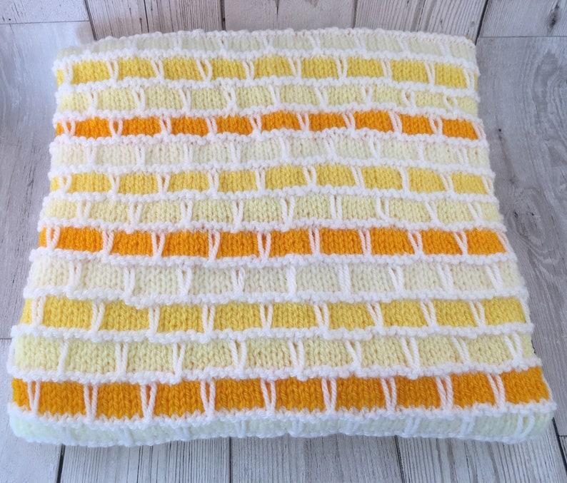 Orange-Yellow-White-Cream-Baby blanket-Hand knitted-Baby image 0